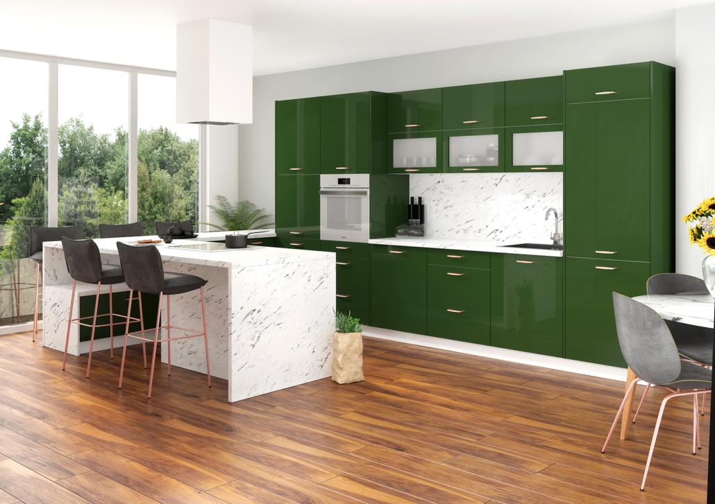 Zielona kuchnia z elementami marmuru