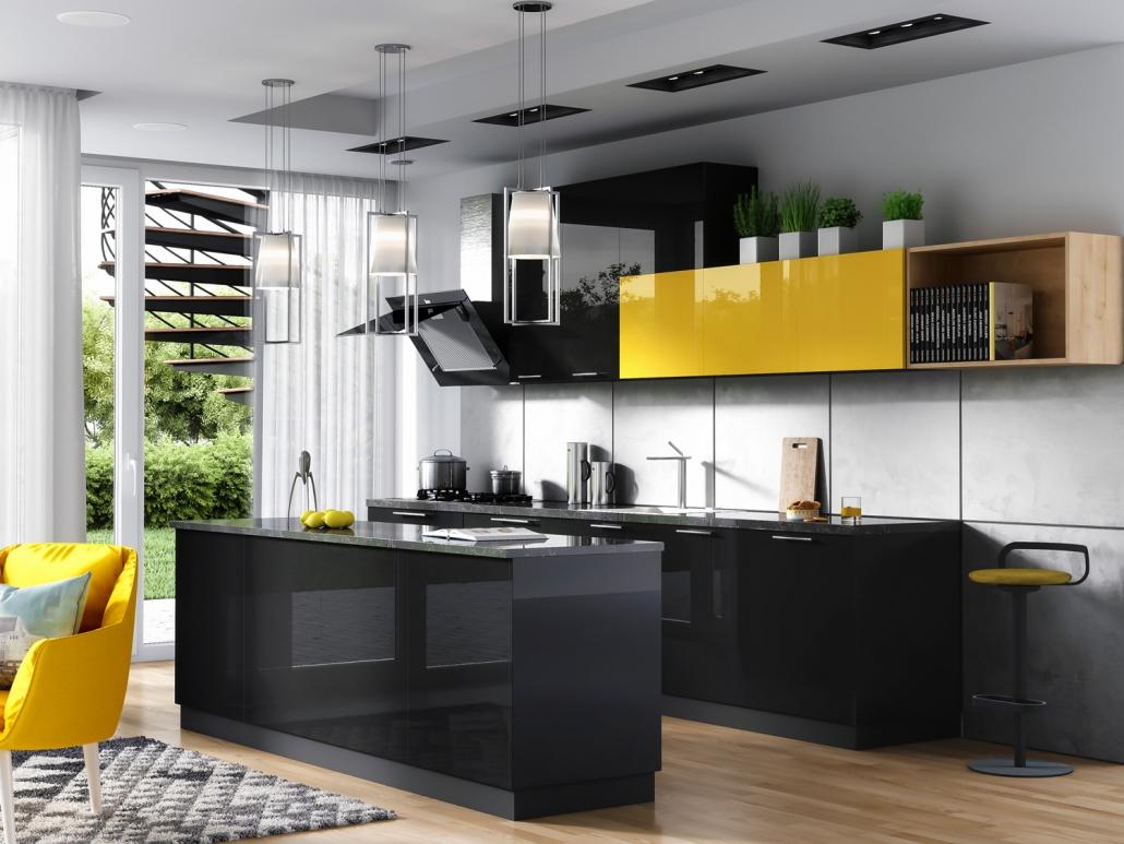 Czarno- żółta kuchnia Navia w połysku