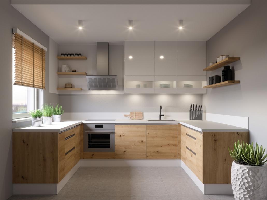 kuchnia o drewnianym dekorze w kształcie U
