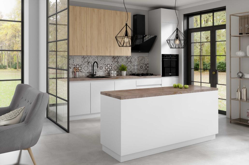 Biała kuchnia z drewnem w stylu loft