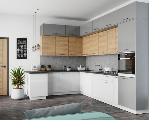 Szaro biała kuchnia z drewnem